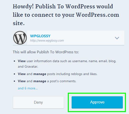 approve-wordpress-site-publish-to-wordpress
